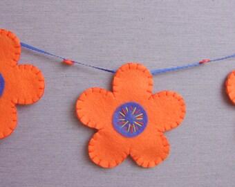 spring flower garland, felt flower garland, hand-stitched felt flowers, spring celebration decor