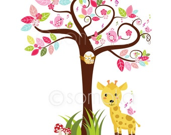 Woodland Tree Digital Clipart, Singing Bird, Sing With Me Bird - Personal and Commercial Use
