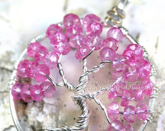 Tree of hope pink topaz tree of life pendant wire wrapped for Breastmilk jewelry tree of life