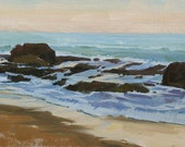 Delicate Dawn - Original Impressionist Style Oil Painting of the Beach - Crystal Cove State Beach Painting - Dawn Seascape Painting