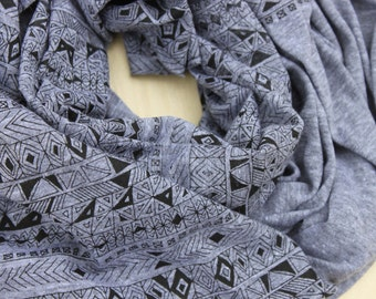 Screen printed Jersey Scarf-Heather Gray with Black Rude Boy Print