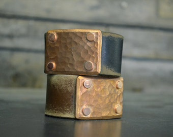 Hammered Copper and Leather Wrist Cuff by Foster Weld
