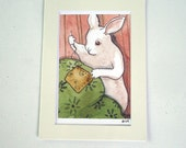 Sewing Bunny - Small Archival Fine Art Print