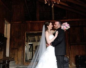 Wedding Veil Swarovski Crystal Rhinestone Sheer 90 Inch Long Chapel Length