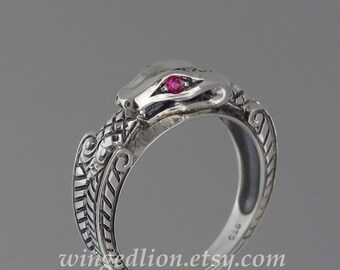 OUROBOROS silver mens Snake ring with Ruby eyes
