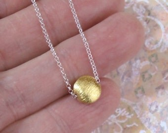 Tiny Gold Sun Necklace Coin Charm Sterling Silver Chain DJStrang Mixed Metals Minimalist