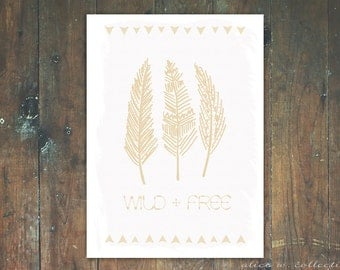 Wild and Free Pale Boho Tribal Feather Wall Art Print,  Instant Download
