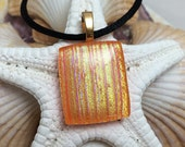 Orange and Gold - Dichroic Fused Glass Jewelry - Pendant - Necklace - Gold Plated Bail - Satin Cord