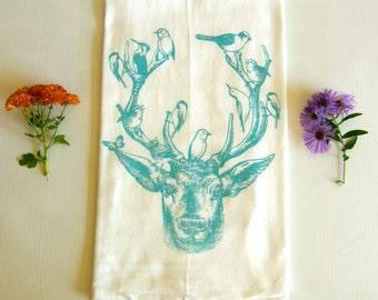 Deer & Birds Kitchen Dish Towel--Tea Towel,  Hand Printed--Turquoise Blue Ink,  Soft Cotton Flour Sack--Hostess Gift