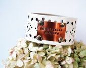 Leather Cuff Bracelet with Inspirational Quote stamped in copper | mindfulness matters | quote jewelry