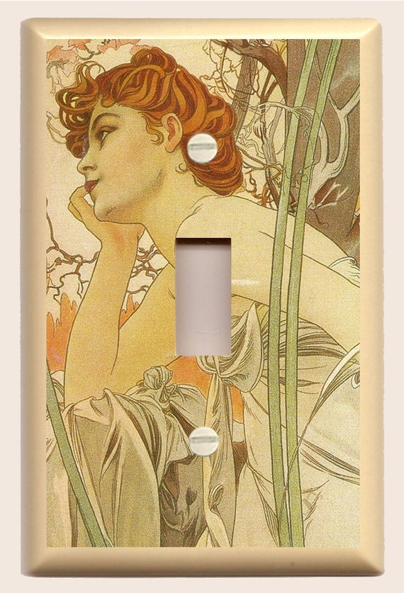 """Alphonse Mucha """"Evening"""" Art Nouveau - Single Light Switch Plate inEarth Tones, Tan, Brown and Green"""