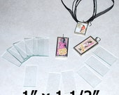 "100 Pack of 1 x 1-1/2 Inch Rectangles  1 x 1.5"" Clear Pendant Glass for Collage Altered Art Soldered Jewelry."