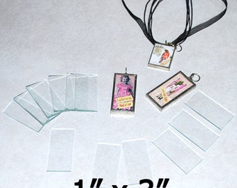 Pack of 30 ((( 1 x 3 Inch Rectangles ))) Clear Memory Glass for COLLAGE Altered Solder Art Pendants
