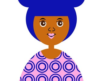 Girl 10  Art Print,  (African American, Latina, Asian Hair Bun Girl Illustration) 5x7, 8x10, 11x14,