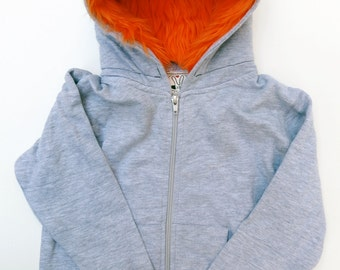 Youth Monster Hoodie - Gray with orange - Youth Large - monster hoodie, horned sweatshirt, youth jacket