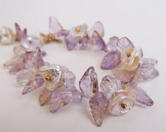 Ametrine and Keishi  Pearl Bracelet  Carved ametrine leaves and keishi petal pearls with Gold Vermeil