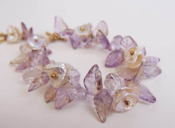 Ametrine and Keishi  Pearl Bracelet  Carved ametrine leaves and keishi petal pearls with Gold Vermeil