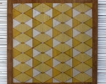 Optical Lines Geometric Wall Art on Reclaimed Barn Wood