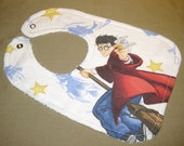 Harry Potter baby bib themed one size fits all retro upcycled fabric shower gift inspired