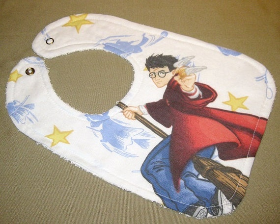 Items similar to harry potter baby bib themed one size for Baby themed fabric