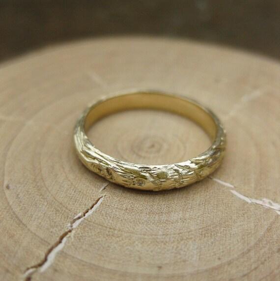 gold woodgrain ring Thinnest PLYWOOD 3mm 14kt yellow sz 5