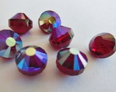 RARE Vintage Swarovski  (6+) beads Austrian crystal Siam Red AB 8mm art 5101 aurora borealis crystal faceted beads aspirin s