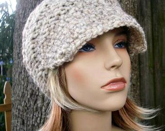 Wheat Newsboy Hat Chunky Knit Hat Womens Hat - Swirl Beanie with Visor Wheat Knit Hat - Wheat Hat Wheat Beanie Womens Accessories