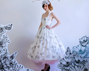 Sillk Skull Wedding DressTea Length with Sweetheart Neckline Gathered Skirt Sugar Skulls, Flowers and Butterflies Print Rockabilly Size 2