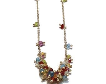 Clustered Wisteria Necklace in Sterling Silver with Rainbow Gemstones