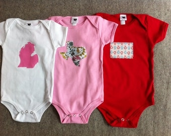 custom state pride onesies THREE choose your state(s) color(s) size(s)