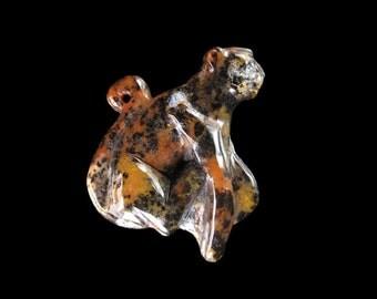 Carved Cheetah Petrified Wood Opal Bead  - 49x42x9 mm