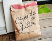 Kraft Calligraphy Wedding Favor Bag - Add your Names and Date - 25 Kraft Favor Bags