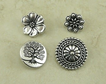 4 TierraCast Button Mix Pack > Bali Western Czech Tree of Life and Flower - Fine Silver Plated Lead Free Pewter - I ship Internationally a7