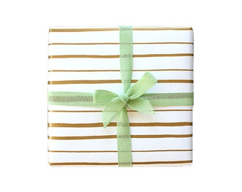 Happy Stripe Screen Printed Gift Wrap - 2 Sheets