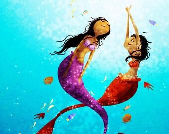 """Mermaid Art, Mermaid Painting, Underwater, Ocean Art, blank greeting card - """"Water Dance"""""""