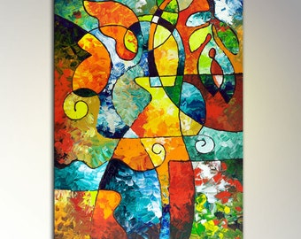 Abstract Art, Giclee Print on Canvas from my original painting Sweet November, floral, flowers, large wall art, still life, 24x36