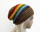 Slouchy Hat Crochet  Rainbow Slouch Beanie Hipster Hat  Mens or Womens Slouch Hat