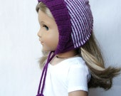 "Fleur Hat - PDF Knitting Pattern For 18"" American Girl Dolls - Doll Clothes Pattern - Instant Download"