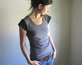 Neutral Color Block Organic Cotton Tee Shirt, Slate Grey and Black, Scoop Neck TShirt, U Neck Top, Womens Blouse, Yoga Top, Custom Made