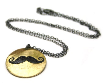 SALE - Mustache pendant necklace - etched brass metalwork
