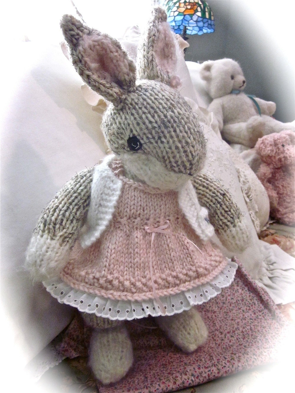 Knitting Stuffed Animals : Knit stuffed animal bunny doll hand and embroidered