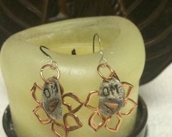 Copper Earrings * Lotus Earrings * Sterling Stamped*  Om Jewelry  *Mixed Metal