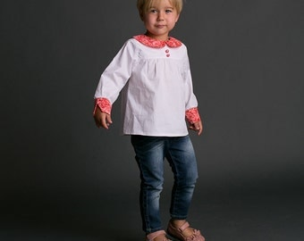 Long Sleeved Top Pattern for Girls - Peter Pan Collar option 2 to 8 years - PDF sewing pattern