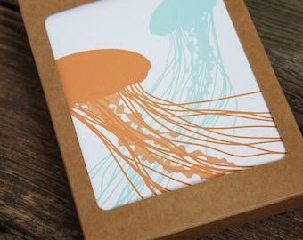 blank note card set / jellyfish