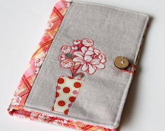 Notepad Holder Organizer, Planner Cover, List Taker - Pink Flowers Vase Applique and Linen