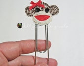 Sock Monkey Paperclip, Sock Monkey Clip, Sock Monkey Bookmark,Clip,Owl Paperclips,Paperclips,Bookmark,Small Sized for Planners,Made to Order
