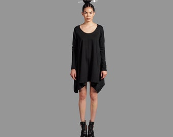 Asymmetric Unbalanced Hemline Black Oversized Custom Made Knit Tunic Dress