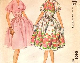 McCall's 5401 ROCKABILLY Raglan Sleeve Shirtwaist Dress Bust 34 - circa 1960