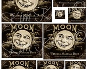 Moon Brand Primitive Pantry Can Label Hang Tags Instant Digital Download JPEG File Print Kitchen Tag Transfer For Pillows, Crates, Box