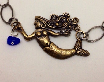 Handmade Mermaid necklace in Bronze, sterling chain with seaglass